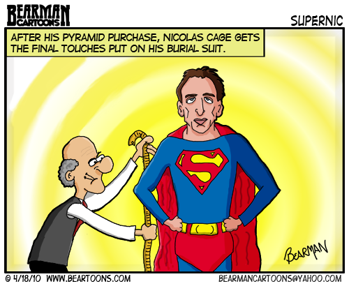 Bearman Cartoon - Nicolas Cage Superman Pyramid