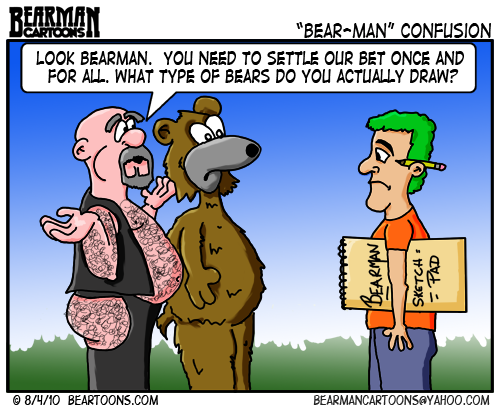 It depicts a gay man who subscribes to the Bear culture and an actual bear ...