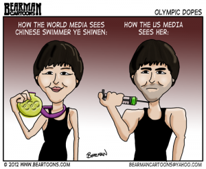 8 2 12 Bearman Editorial Cartoon Ye Shiwen Olympic Swimmer Doping