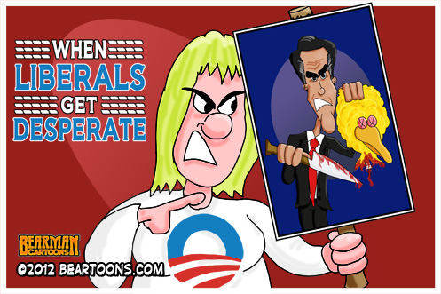Editorial Cartoon When Liberals Get Desperate Mitt Romney Sesame Street by Bearman Cartoons