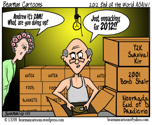 End of the World Again Mayan Calendar 2012 Cartoon by Bearman Cartoons