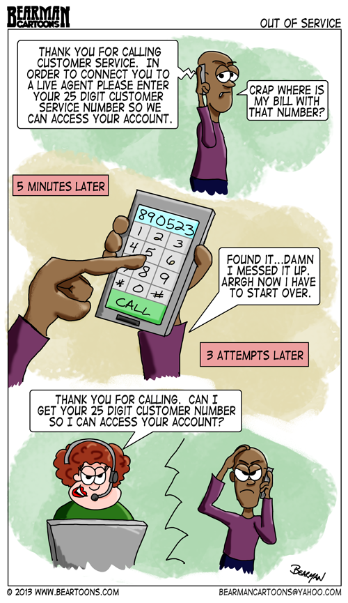 Customer Service Phone Trees Cartoon by Bearman Cartoons