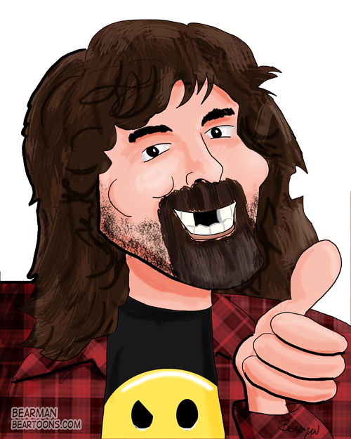 Mick-Foley-Caricature-by-Bearman Cartoons